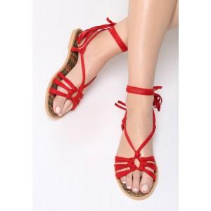Letní sandály dámské červené barvy