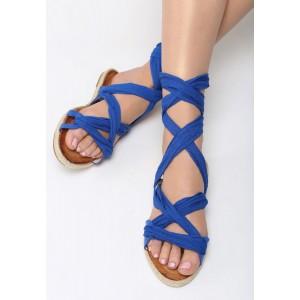 Sandály gladiátorky modré barvy s vázáním