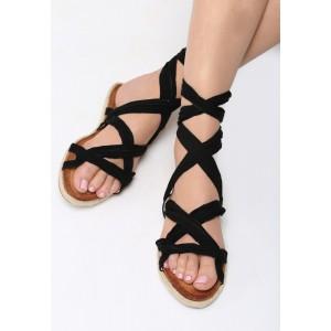Dámské sandály s vázáním v černé barvě