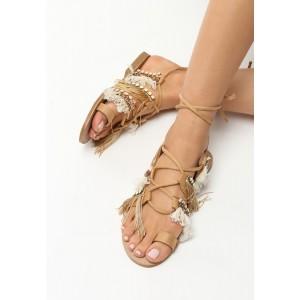 Letní boty gladiátorky s třásněmi