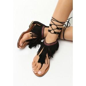 Černé sandály s vázáním kolem nohy