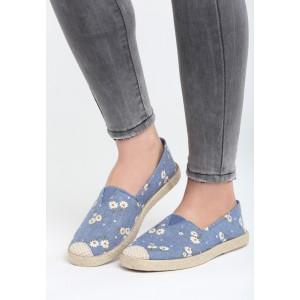 Espadrilky v modré barvě s pleteným copem