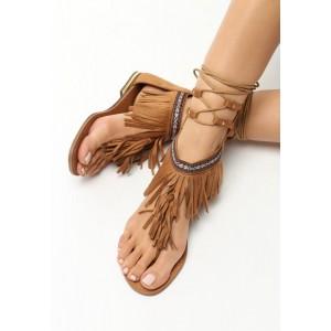 Šněrovací sandály s třásněmi hnedé barvy