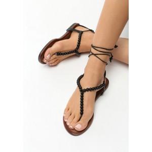 Černé sandály dámské na šněrování