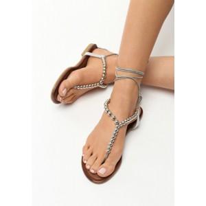 Stříbrné sandály gladiátorky s korálky