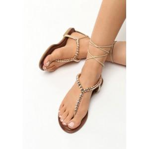 Sandály se šněrováním zlaté barvy