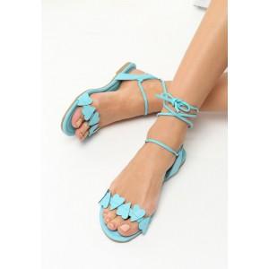 Letní sandály modré barvy s vázáním