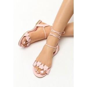 Sandály se šněrováním v růžové barvě