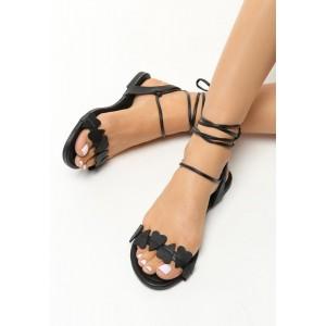 Černé dámské sandály s vázáním