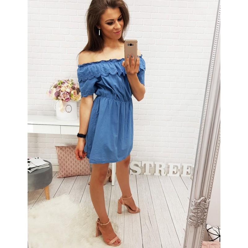798bef9c4c2f Dámské modré šaty s krajkou