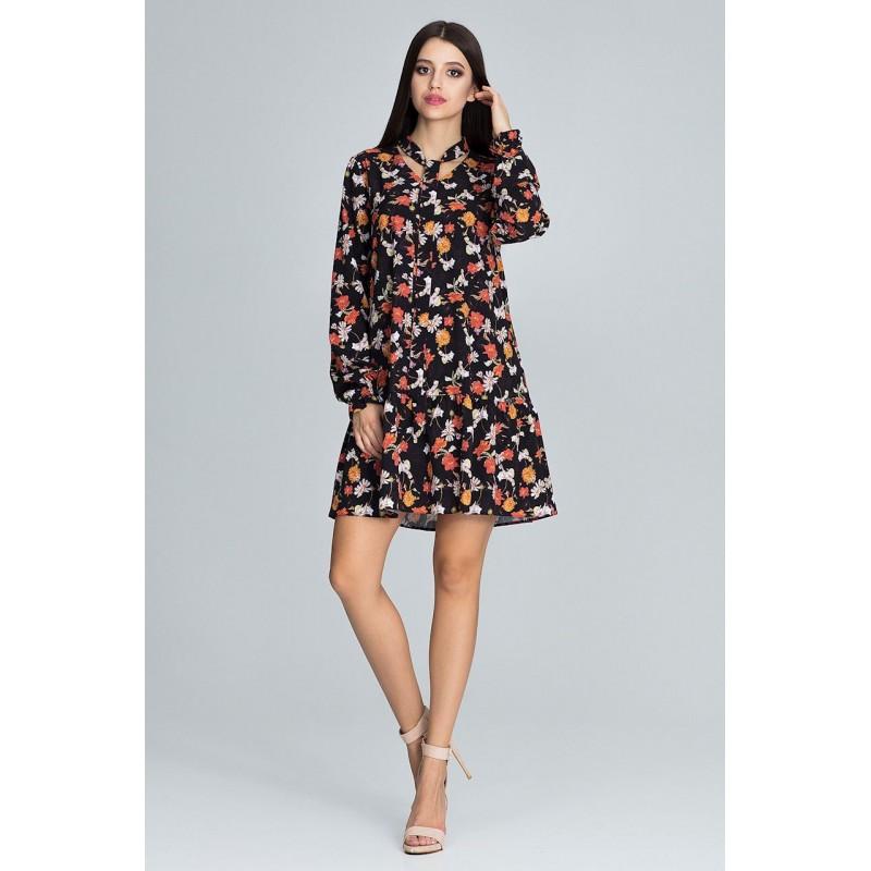 Letní šaty černé barvy s květinami 1888c6cc84