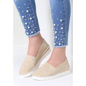 Dámské boty slip on v béžové barvě