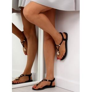 Černé sandály s perlovou aplikací