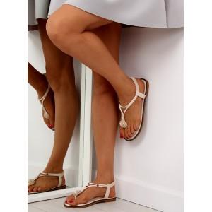Béžové sandály na rovné podrážce