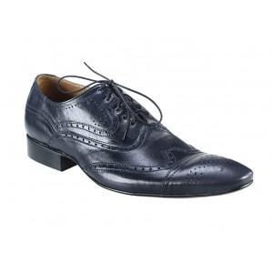 Pánské kožené společenské boty tmavomodré PT157