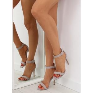 Vysoké dámské sandály se zapínáním kolem nohy v šedé barvě