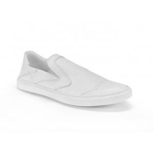 Kožené boty bílé barvy v sportovém stylu