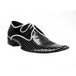 Pánské kožené extravagantní boty černé ID: 567