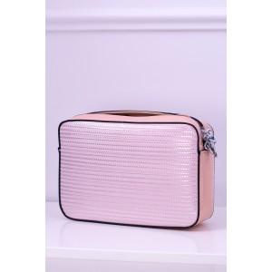 Lakovaná kabelka crossbody v růžové barvě