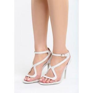 VELIKOST 39 Sandály dámské na podpatku v šedé barvě