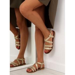 Dámské sandály zlaté barvy s rovnou podrážkou