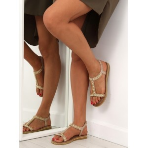 Sandály dámské v zlaté barvě