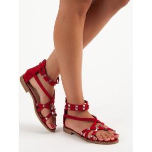 Červené sandály semišové