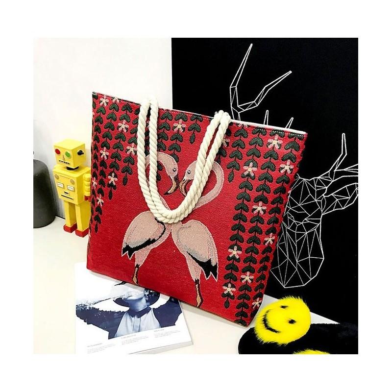 cab228ea1 Plátěná taška na pláž červená