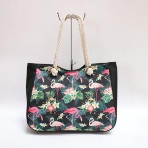 Plážová taška černé barvy vzorovaná