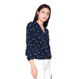 Košile dámské v tmavě modré barvě a výstrihom do V