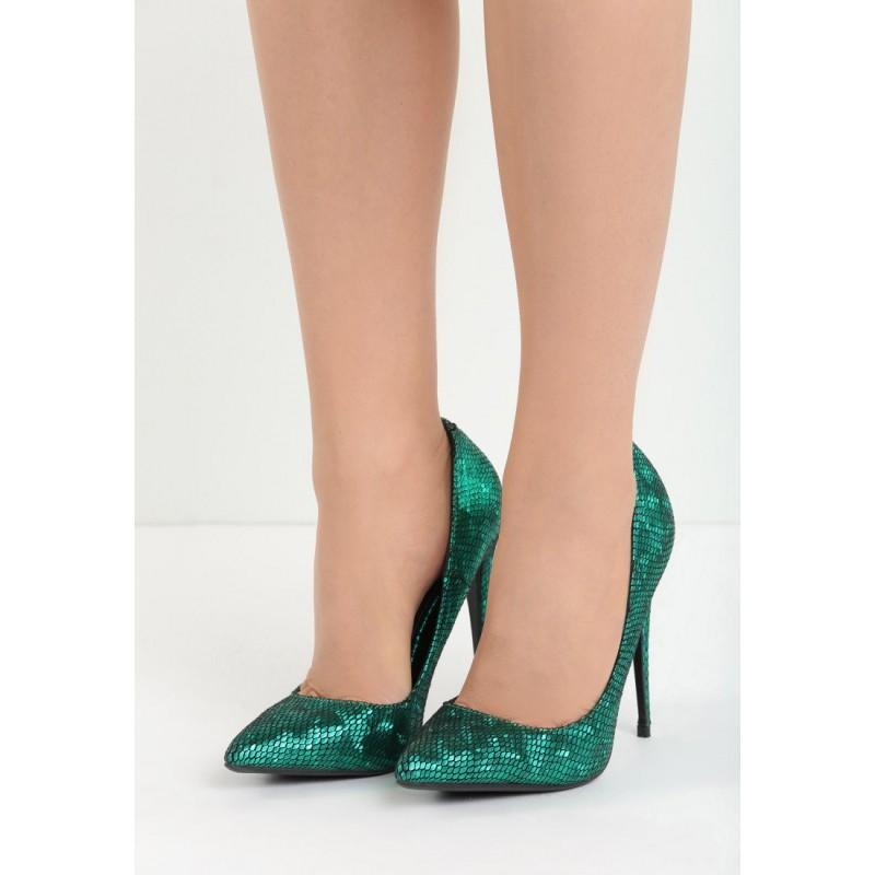 SLEVY AŽ 80% VELIKOST 36 Zelené dámské lodičky na ples se šupinovým vzorem.  Předchozí 374ca824f1