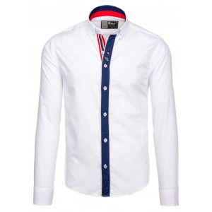 Stylová bílá slim košile pro pány s lemem kolem knoflíků