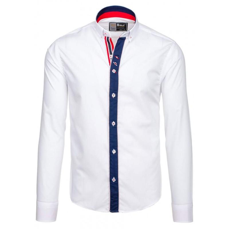 1b97845ab54 ... lemem kolem knoflíků. Předchozí. Stylová bílá slim košile pro pány ...