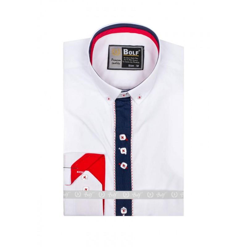 4d450364cec VELIKOST S Stylová bílá slim košile pro pány s lemem kolem knoflíků ...