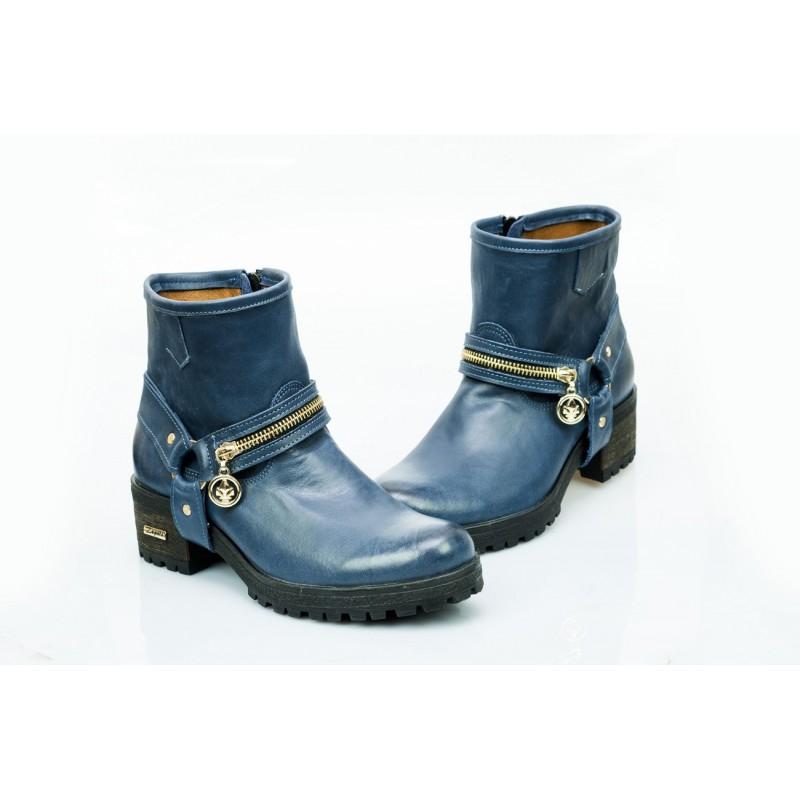 a23bab9d9d6a2 Dámské kožené boty tmavě modré PT452 - manozo.cz