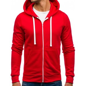 VELIKOST M Červená mikina s kapucí pro pány