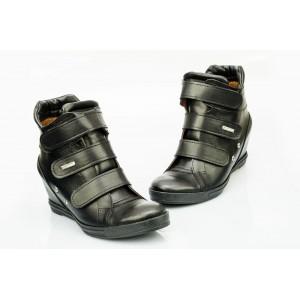 Dámské kožené boty černé DT224
