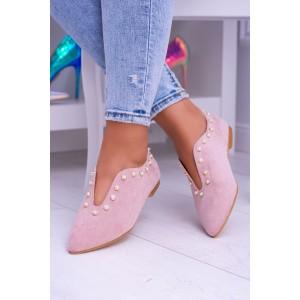 Boty na podpatku růžové barvy