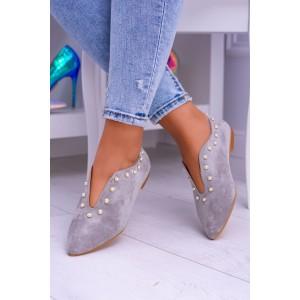 Boty na podpatku šedé barvy
