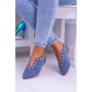 Boty na podpatku modré barvy
