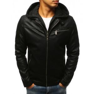 Jarní koženkové bundy s černou kapucí
