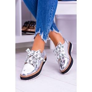 Dámské podzimní boty stříbrné barvy