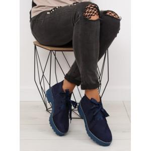 Podzimní boty dámské tmavě modré barvy