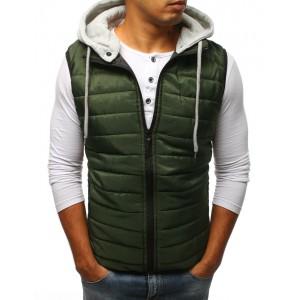 Pánská vesta s kapucí zelené barvy