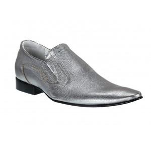 Pánské kožené extravagantní boty stříbrné