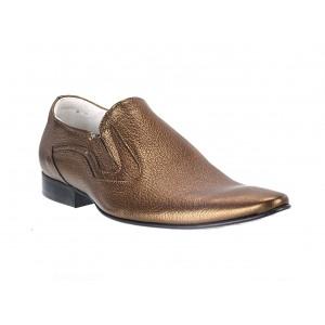 Pánské kožené extravagantní boty zlaté