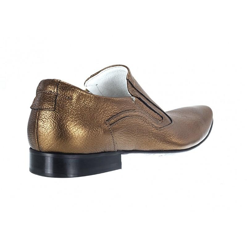 fa9b7f3f110 Pánské kožené extravagantní boty zlaté - manozo.cz