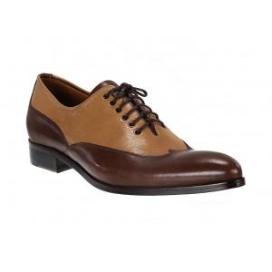 Pánské kožené extravagantní boty hnědé