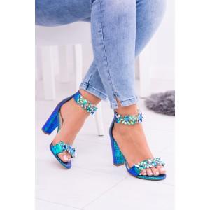 Sandály dámské na podpatku zdobené kamínkami
