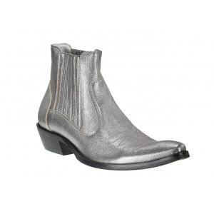 Pánské kožené kovbojky stříbrné